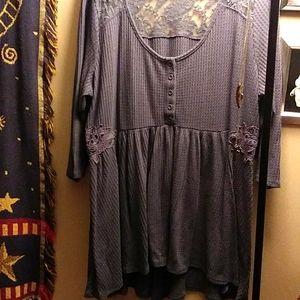 Blue/gray babydoll top